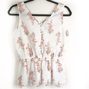 Ann Taylor Factory petite floral smocked waist top